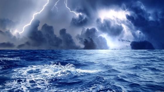 lightning-wallpaper-thunder-sky-clouds-sea-water-waves